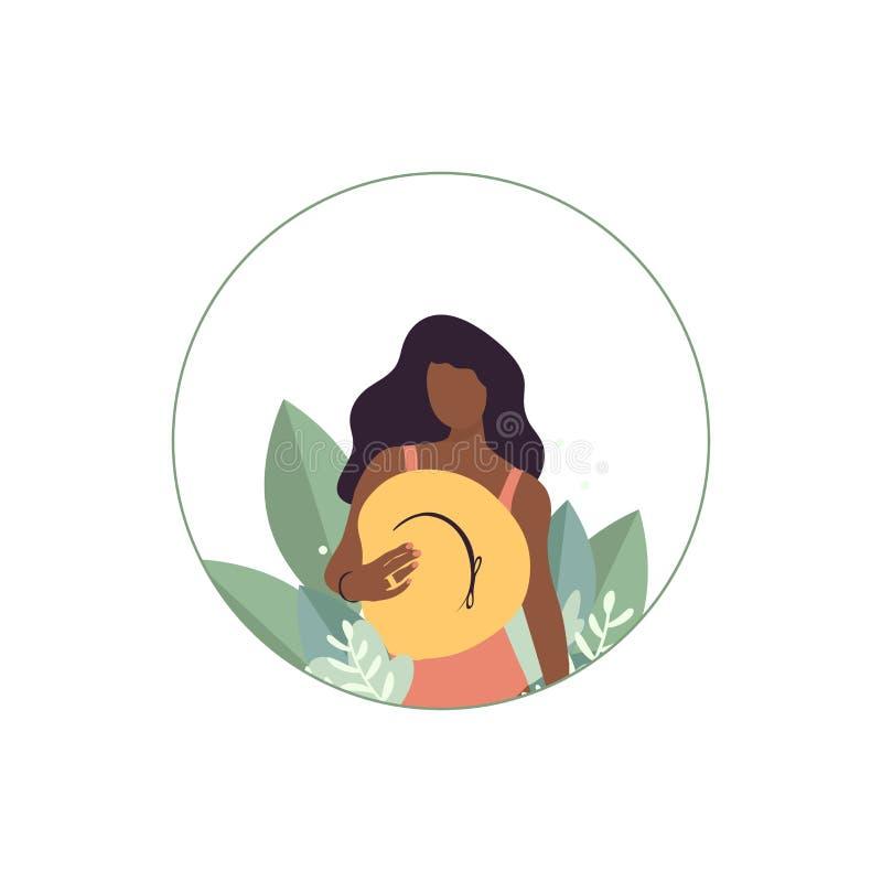 Όμορφη γυναίκα στα μεγάλα φύλλα με το καπέλο στον κύκλο διανυσματική απεικόνιση