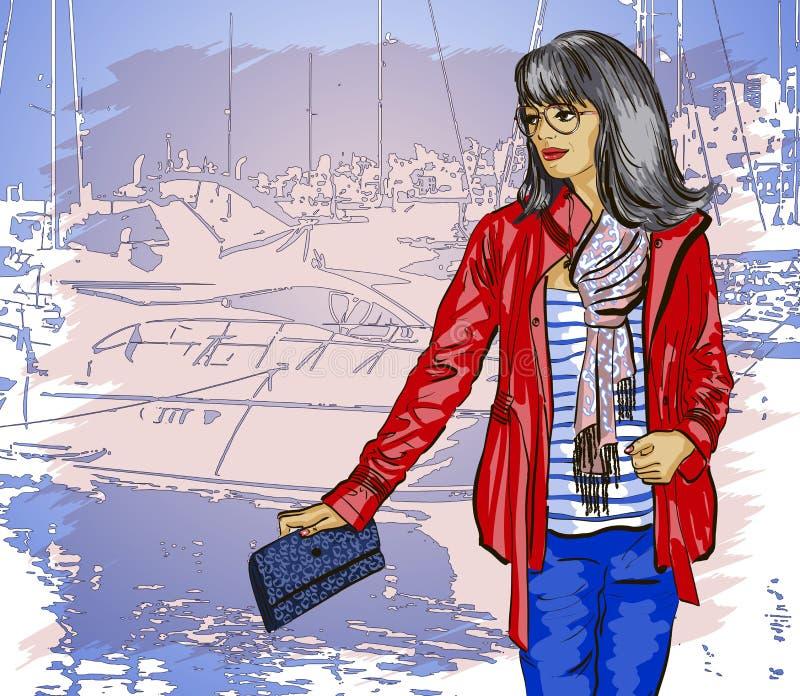 Όμορφη γυναίκα στην αποβάθρα διανυσματική απεικόνιση