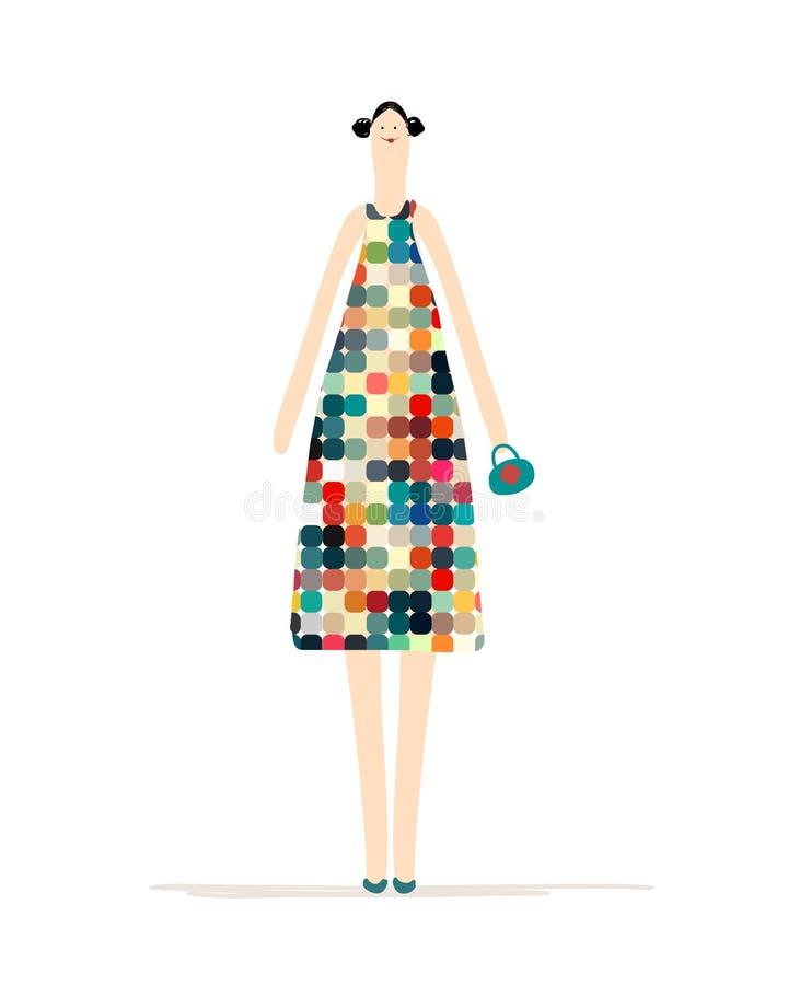 Όμορφη γυναίκα στο ζωηρόχρωμο φόρεμα για το σχέδιό σας απεικόνιση αποθεμάτων