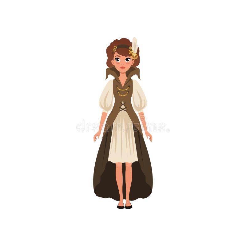 Όμορφη γυναίκα στο κοστούμι steampunk Το νέο κορίτσι μέσα το φόρεμα με τα μανίκια, τη μακριά φανέλλα και headband με το φτερό και διανυσματική απεικόνιση