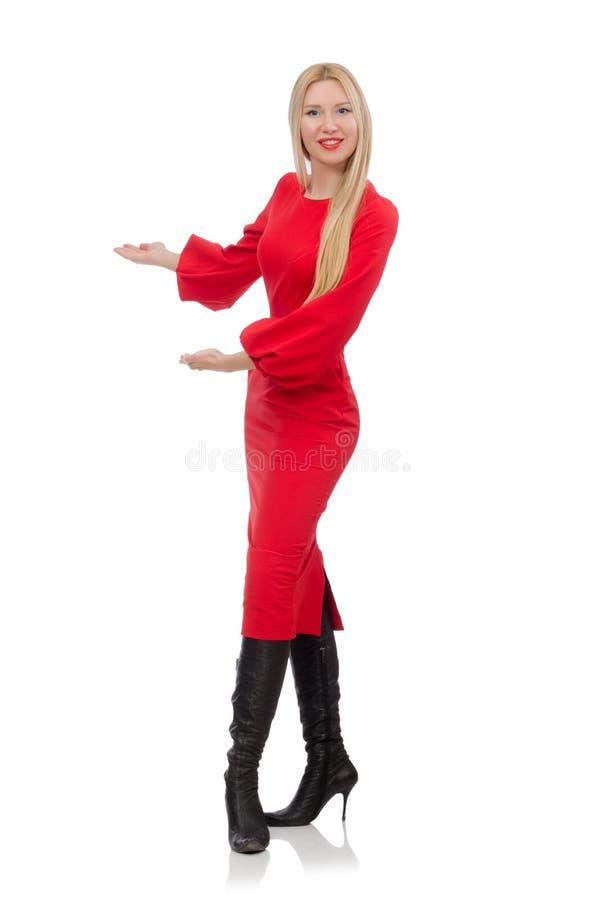 Όμορφη γυναίκα στο κόκκινο μακρύ φόρεμα στοκ φωτογραφίες