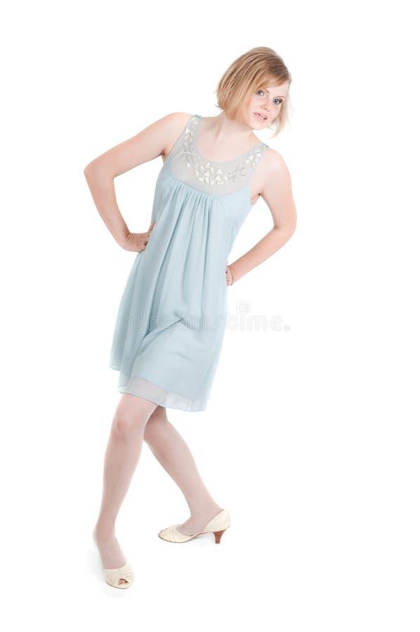 Όμορφη γυναίκα στο μπλε φόρεμα στοκ φωτογραφία με δικαίωμα ελεύθερης χρήσης
