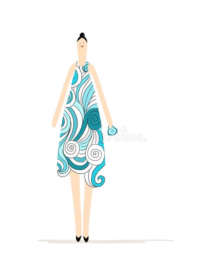 Όμορφη γυναίκα στο μπλε φόρεμα για το σχέδιό σας διανυσματική απεικόνιση