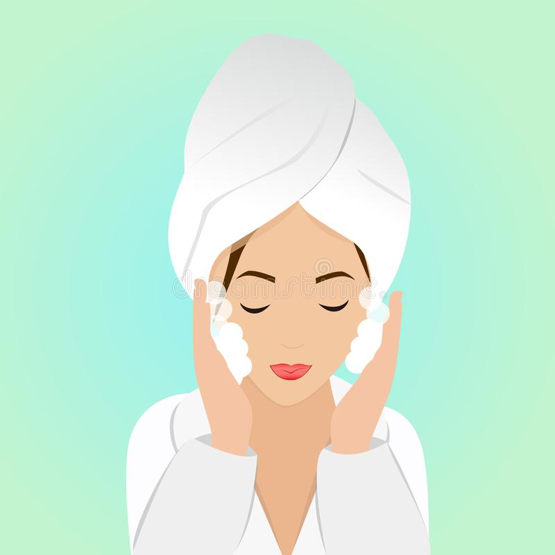 Όμορφη γυναίκα στο στάδιο του προσώπου πλύσης στο μπουρνούζι και την πετσέτα επίσης corel σύρετε το διάνυσμα απεικόνισης διανυσματική απεικόνιση