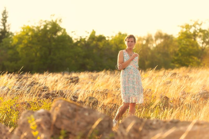 Όμορφη γυναίκα στο φως βραδιού στοκ εικόνες με δικαίωμα ελεύθερης χρήσης