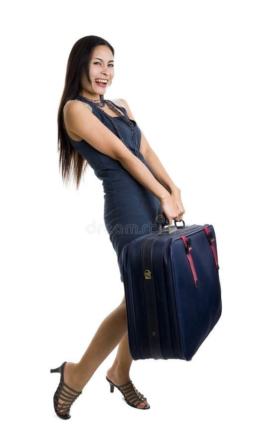 όμορφη γυναίκα τσαντών στοκ φωτογραφία