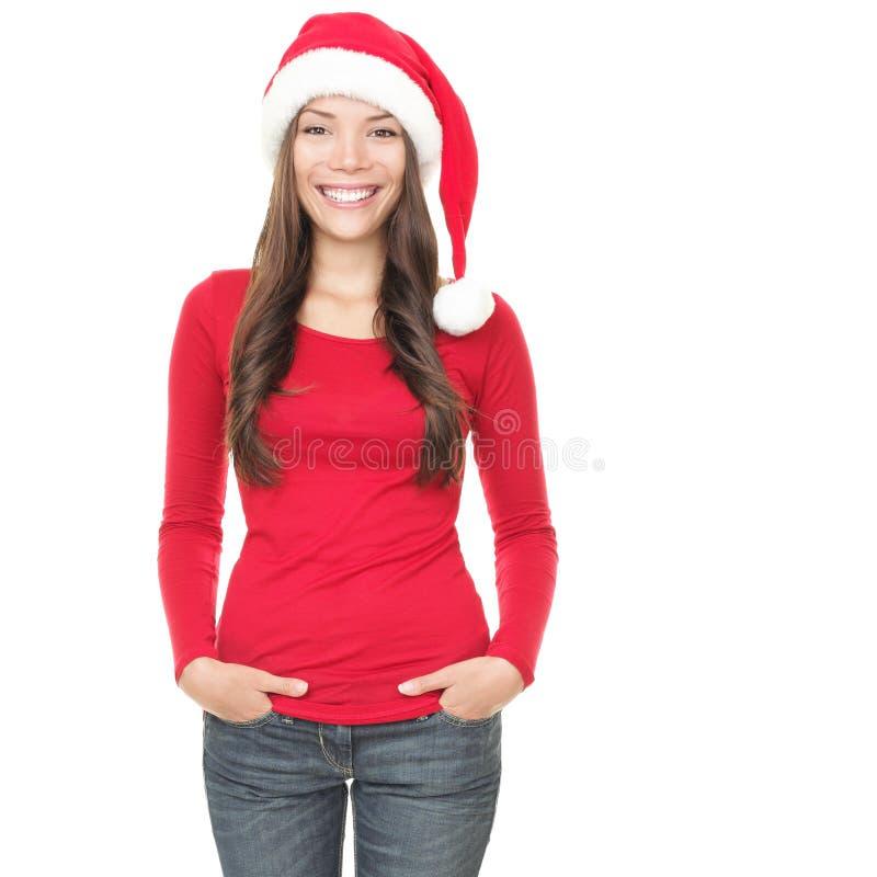 Όμορφη γυναίκα Χριστουγέννων στην άσπρη ανασκόπηση στοκ εικόνα με δικαίωμα ελεύθερης χρήσης