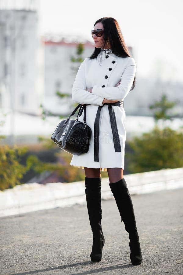 Όμορφη γυναίκα brunette με το τσαντάκι στοκ φωτογραφίες με δικαίωμα ελεύθερης χρήσης