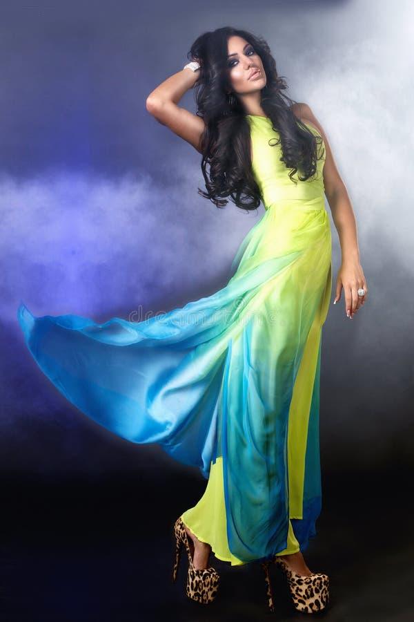 Όμορφη γυναίκα brunette Uxurious στοκ φωτογραφία