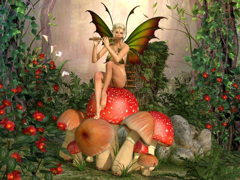 Όμορφη γυναίκα Elven με το φλάουτο διανυσματική απεικόνιση