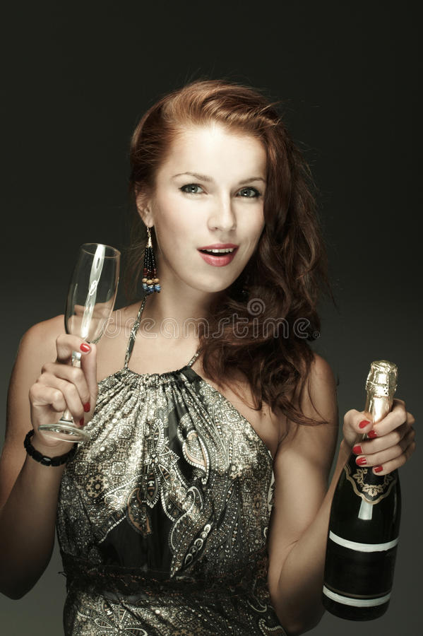 όμορφη γυναίκα hampagne στοκ εικόνες με δικαίωμα ελεύθερης χρήσης