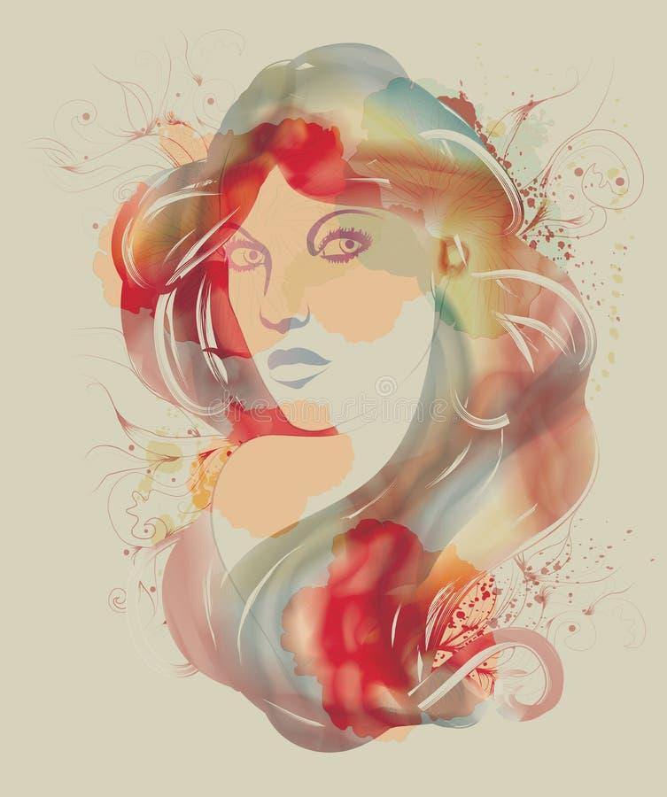 όμορφη γυναίκα watercolor σκίτσων μό&d διανυσματική απεικόνιση