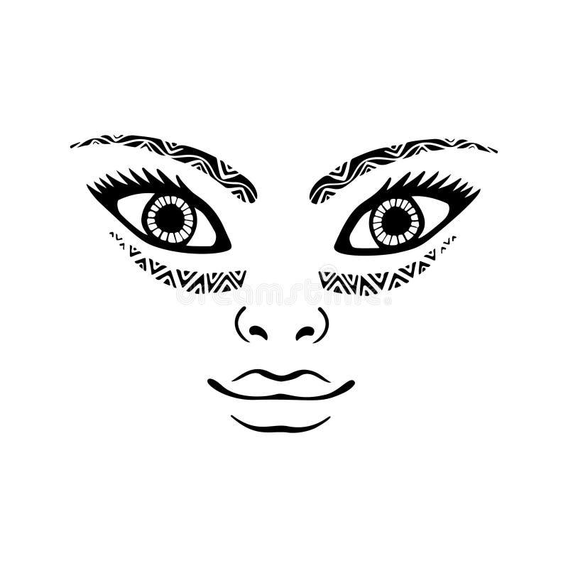 Όμορφη δερματοστιξία προσώπου κοριτσιών, πορτρέτο του όμορφου προσώπου γυναικών Συρμένο το χέρι κομψό διάνυσμα γυναικών μόδας στο διανυσματική απεικόνιση