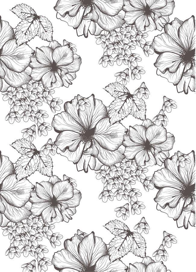 Όμορφη διανυσματική απεικόνιση λουλουδιών Floral υπόβαθρο σχεδίων Συρμένες γραφικές απεικονίσεις ύφους τέχνης γραμμών χέρι απεικόνιση αποθεμάτων