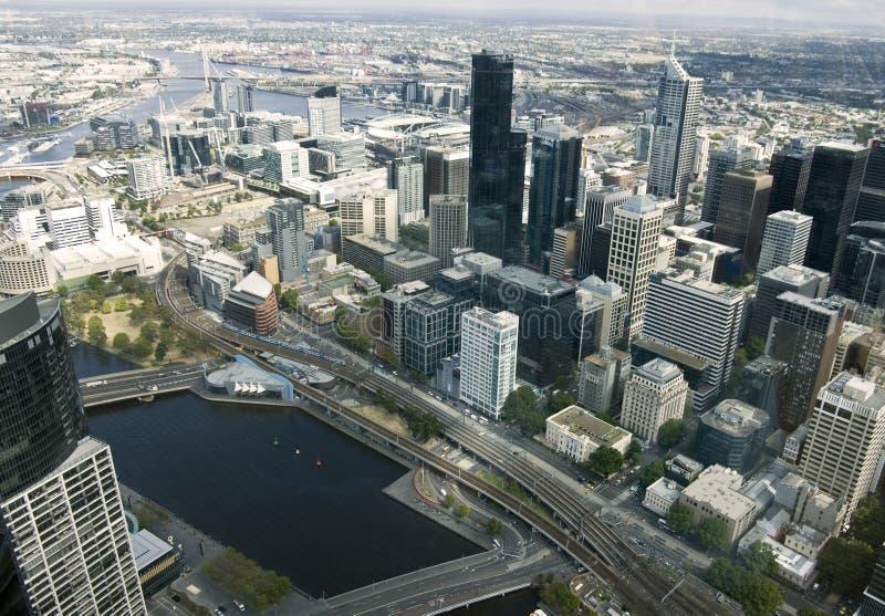 Όμορφη εικονική παράσταση πόλης της Μελβούρνης, Αυστραλία. Εναέρια όψη από το SK στοκ εικόνα με δικαίωμα ελεύθερης χρήσης