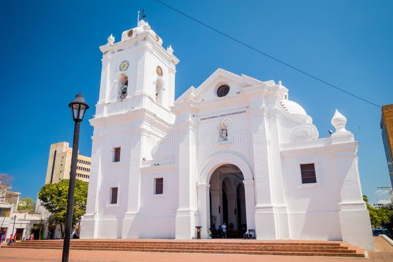 Όμορφη εκκλησία σε Santa Marta, καραϊβική πόλη στοκ εικόνες