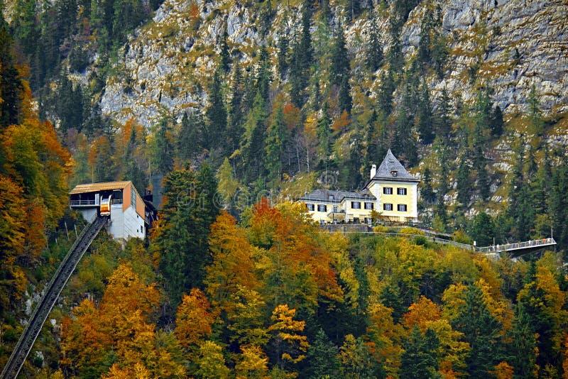 Όμορφη εναέρια άποψη πτώσης ropeway τελεφερίκ funicular στα αυστριακά όρη Κόκκινο αυτοκίνητο σιδηροδρόμων καλωδίων στα βουνά στοκ φωτογραφία με δικαίωμα ελεύθερης χρήσης