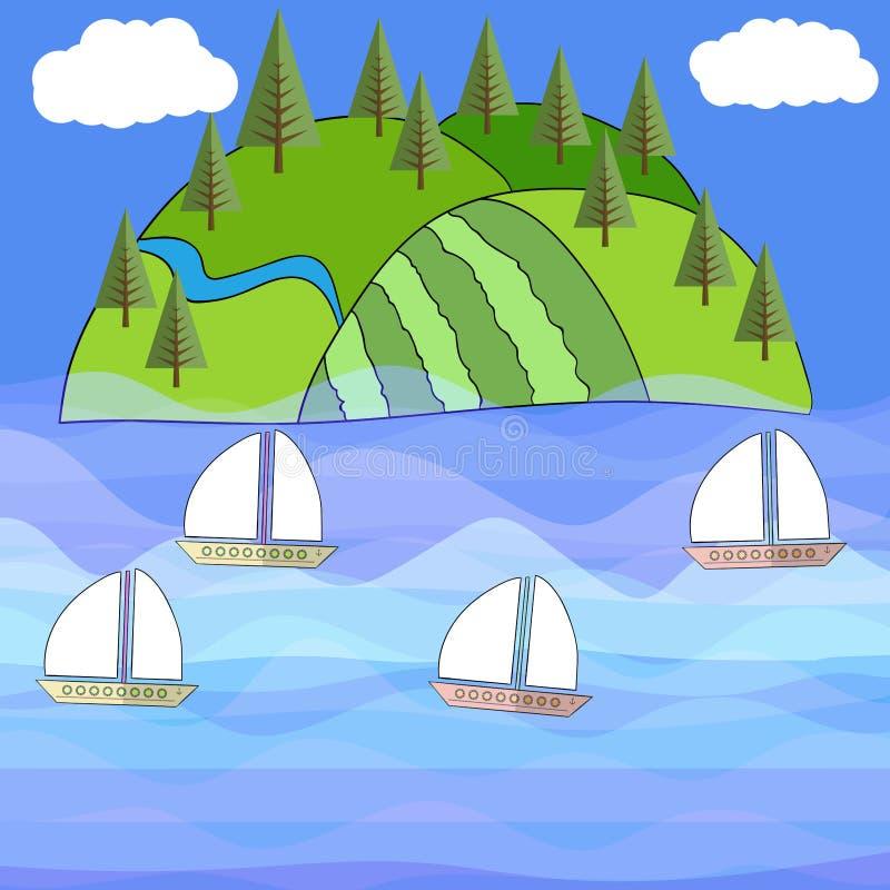 Όμορφη εξωτική διανυσματική θάλασσα νησιών διανυσματική απεικόνιση