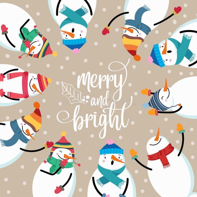 Όμορφη επίπεδη κάρτα Χριστουγέννων σχεδίου με το χιονάνθρωπο και τις επιθυμίες ελεύθερη απεικόνιση δικαιώματος