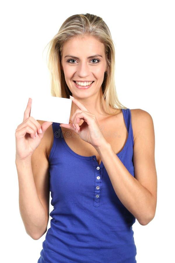 Όμορφη επαγγελματική κάρτα εκμετάλλευσης γυναικών στοκ φωτογραφία με δικαίωμα ελεύθερης χρήσης