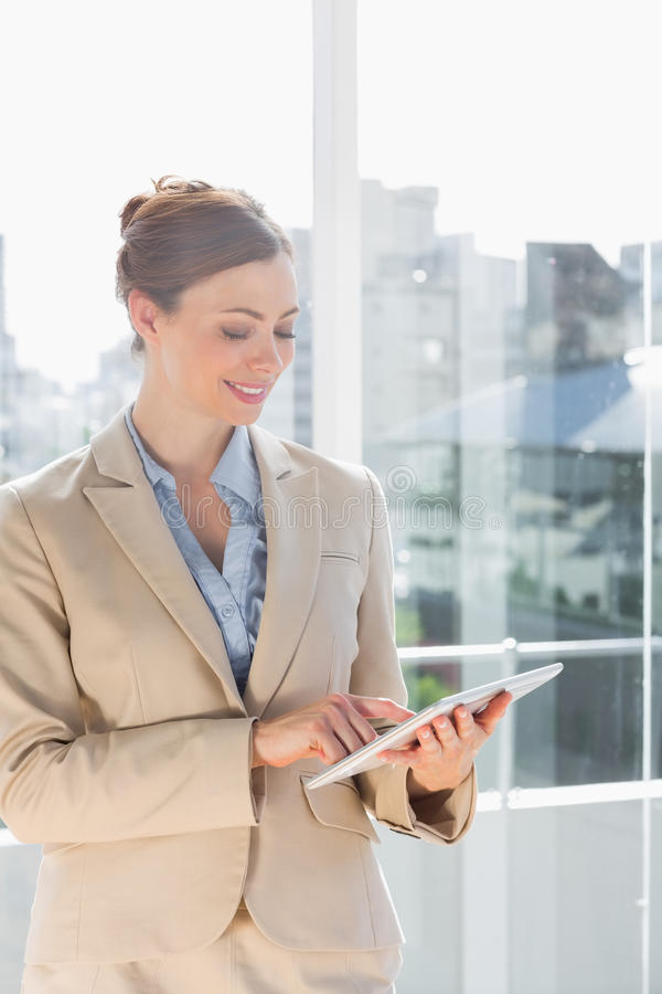 Όμορφη επιχειρηματίας που χρησιμοποιεί το PC ταμπλετών της στοκ φωτογραφία