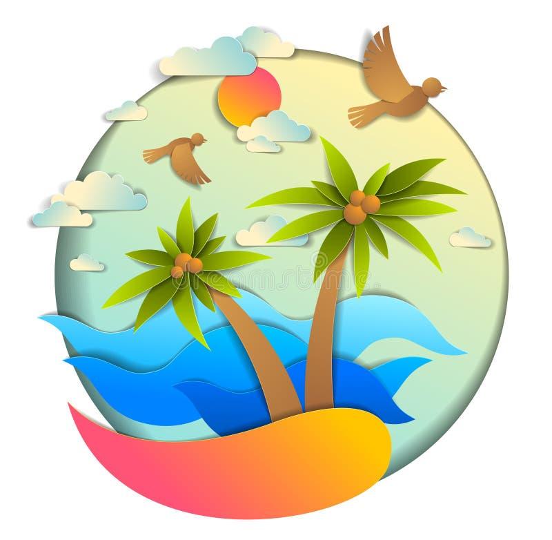 Όμορφη εποχική με θαλάσσια κύματα, παραλία και παλάμες, σύννεφα πουλιώΠστοκ εικόνα με δικαίωμα ελεύθερης χρήσης