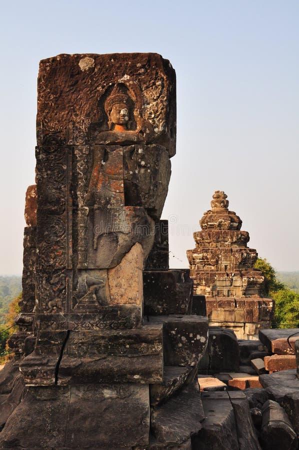 Όμορφη λεπτομέρεια Phnom Bakheng σε Angkor, Καμπότζη στοκ εικόνες