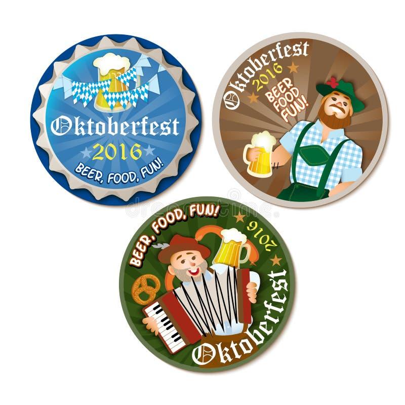 Όμορφη ετικέτα Oktoberfest με την μπύρα και pretzel ελεύθερη απεικόνιση δικαιώματος