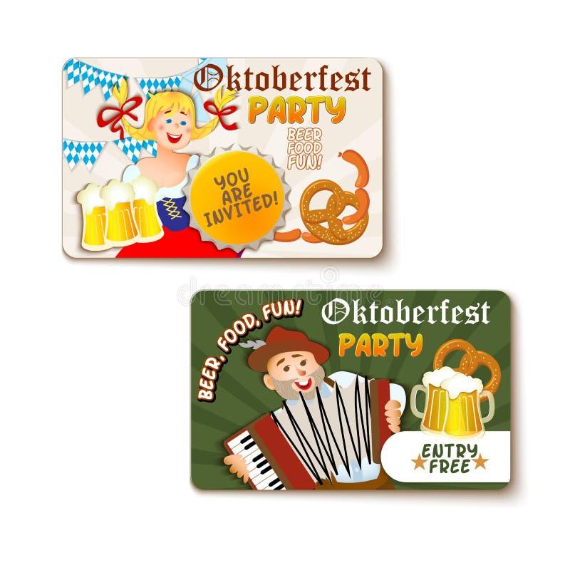 Όμορφη ετικέτα Oktoberfest με την μπύρα και pretzel απεικόνιση αποθεμάτων