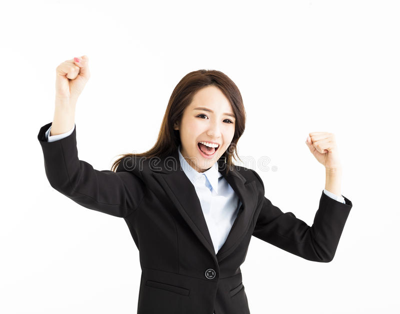 Όμορφη ευτυχής νέα επιχειρησιακή γυναίκα στοκ εικόνες