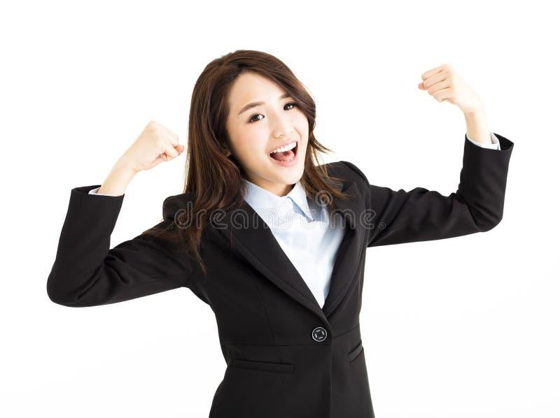 Όμορφη ευτυχής νέα επιχειρησιακή γυναίκα στοκ φωτογραφίες