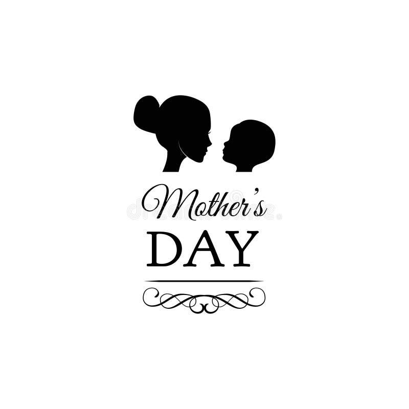 Όμορφη ευχετήρια κάρτα έννοιας για τον εορτασμό ημέρας mom Μητέρα με τις σκιαγραφίες παιδιών διάνυσμα απεικόνιση αποθεμάτων