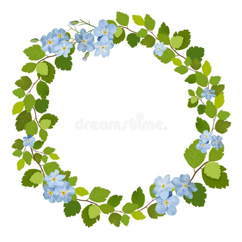 Όμορφη ευχετήρια κάρτα με ένα στεφάνι των μπλε λουλουδιών άνοιξη ελεύθερη απεικόνιση δικαιώματος