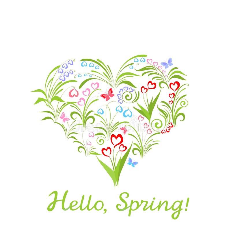 Όμορφη ευχετήρια κάρτα με τα λουλούδια μορφής και άνοιξη καρδιών διανυσματική απεικόνιση