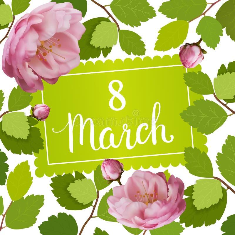 Όμορφη ευχετήρια κάρτα με τις διακοπές της 8ης Μαρτίου, της διεθνούς ημέρας γυναικών ` s με τα τριαντάφυλλα άνοιξη και της εγγραφ διανυσματική απεικόνιση