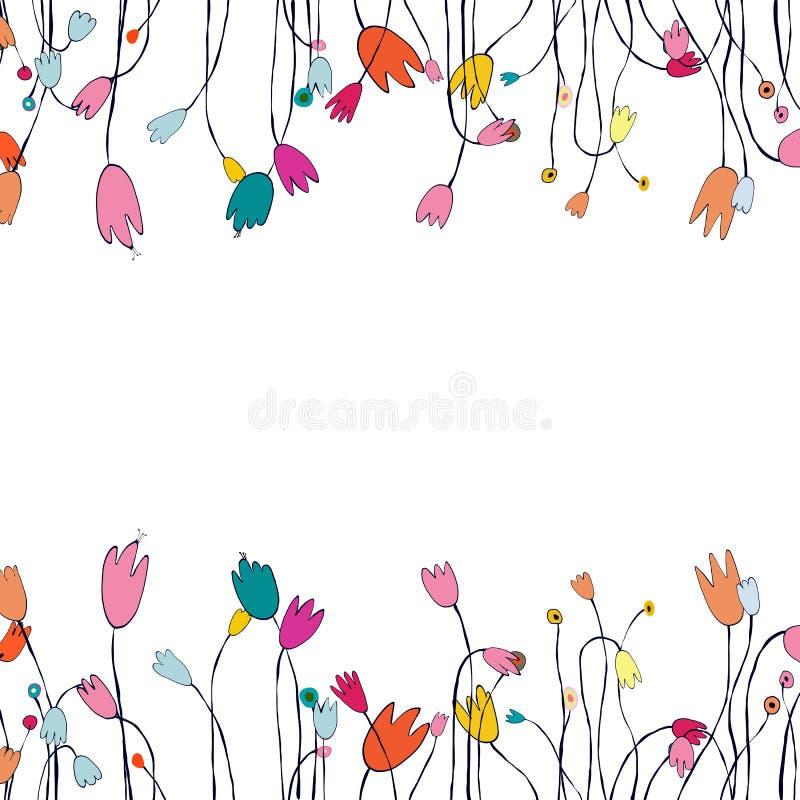 Όμορφη ευχετήρια κάρτα με το floral στεφάνι απεικόνιση ελεύθερη απεικόνιση δικαιώματος