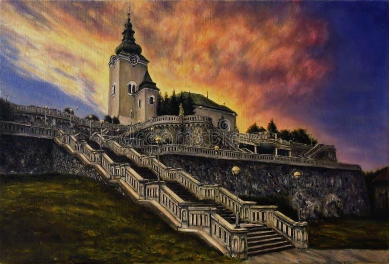 Όμορφη ελαιογραφία μιας εκκλησίας, μιας σκάλας και παλαιών τοίχων κάστρων στον καμβά διανυσματική απεικόνιση