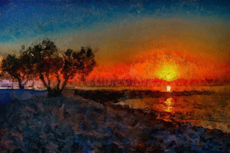 Όμορφη ζωγραφική ηλιοβασιλέματος στη θάλασσα προηγούμενο ομιχλώδες δέντρο σκιαγραφιών πρωινού διανυσματική απεικόνιση