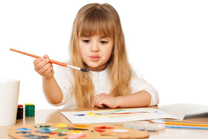 Όμορφη ζωγραφική μικρών κοριτσιών στοκ εικόνες