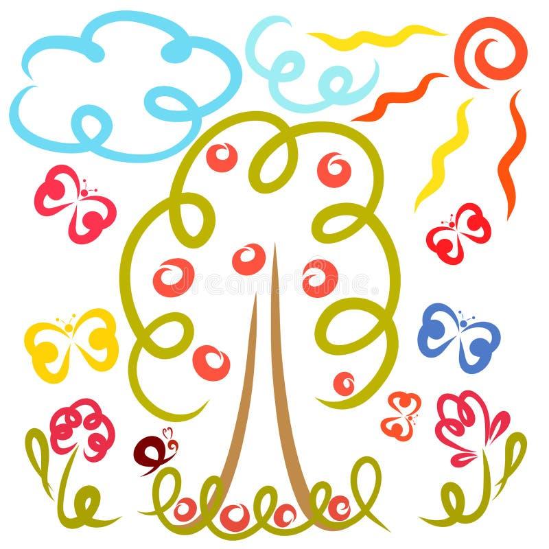 Όμορφη ηλιόλουστη ημέρα, φύση, πεταλούδες, σαλιγκάρι και φρούτα διανυσματική απεικόνιση