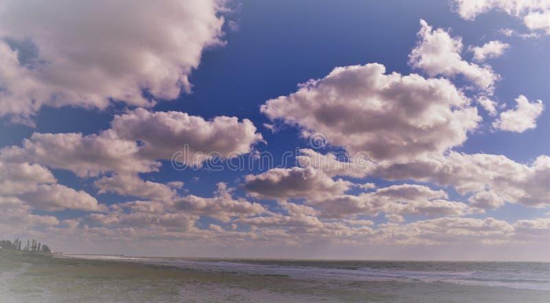 Όμορφη ηλιόλουστη χρυσή παραλία της Φλώριδας που αντιπροσωπεύει την ειλικρίνεια, τη δυνατότητα και την εξερεύνηση στοκ φωτογραφία με δικαίωμα ελεύθερης χρήσης