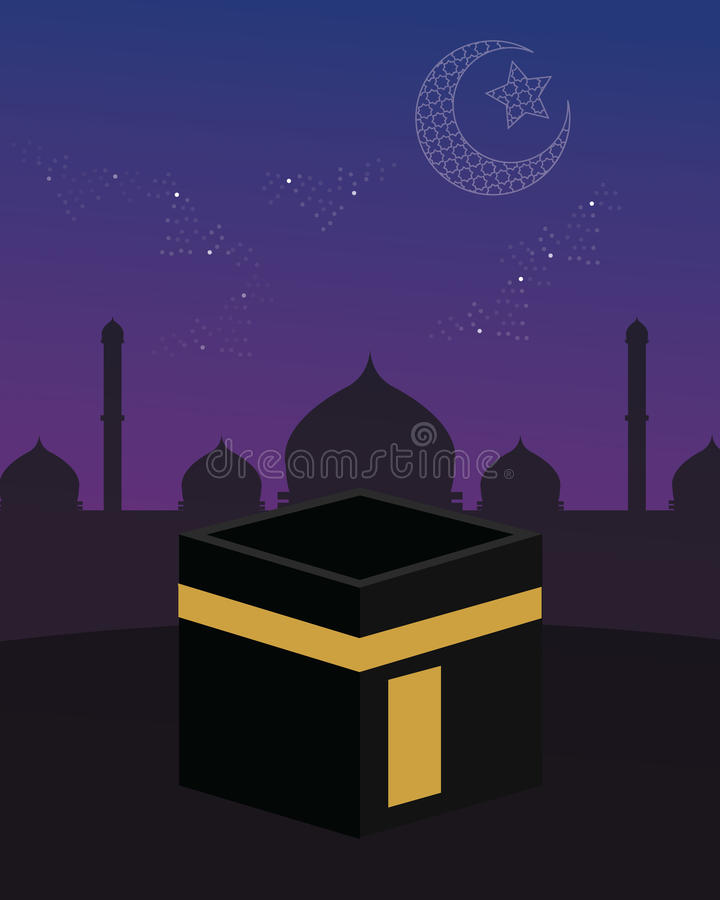 Όμορφη ημισέληνος αστεριών ουρανού Ισλάμ kaaba της Μέκκας απεικόνιση αποθεμάτων