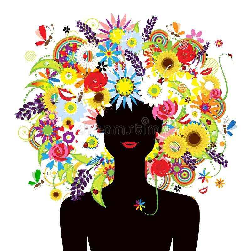 όμορφη θερινή γυναίκα hairstyle πρ&omic ελεύθερη απεικόνιση δικαιώματος