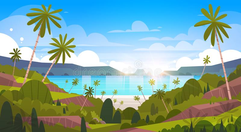 Όμορφη θερινή παραλία τοπίων παραλιών με την εξωτική άποψη θερέτρου φοινίκων διανυσματική απεικόνιση