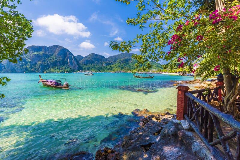 Όμορφη θερινή σκηνή με τα βουνά και το τυρκουάζ θαλάσσιο νερό στο χωριό κόλπων Sai τόνου, περιοχή Phi Phi, Ταϊλάνδη στοκ φωτογραφίες