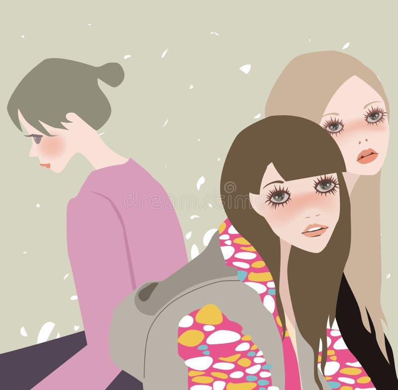 όμορφη ιστορία τρία κοριτσ& διανυσματική απεικόνιση