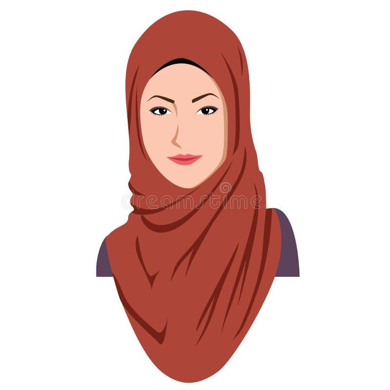 Όμορφη ισλαμική γυναίκα σε Hijab ελεύθερη απεικόνιση δικαιώματος