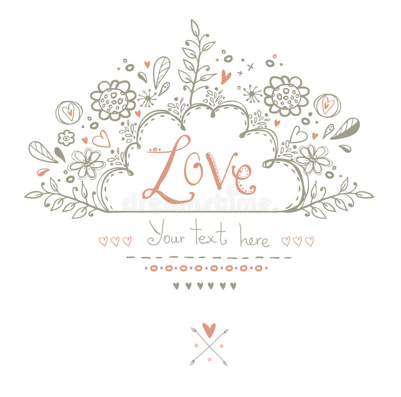 Όμορφη κάρτα αγάπης στο εκλεκτής ποιότητας ύφος Ανασκόπηση αγάπης Κάρτα καρτών ημέρας βαλεντίνων ελεύθερη απεικόνιση δικαιώματος