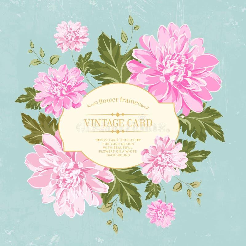 Όμορφη κάρτα με ένα στεφάνι των διαφορετικών λουλουδιών χρώματος. ελεύθερη απεικόνιση δικαιώματος