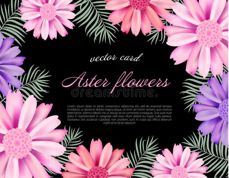 Όμορφη κάρτα με λουλούδια τα διαφορετικά χρώματος αστέρων διανυσματική απεικόνιση